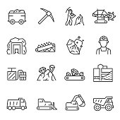 Mining, icon set. Extraction of minerals in the mine and surface. editable stroke