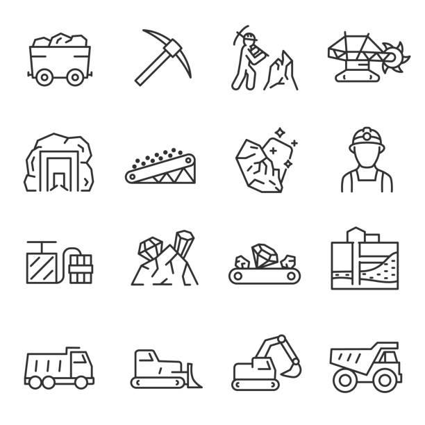 górnictwo, zestaw ikon. ekstrakcja minerałów w kopalni i powierzchni, liniowe ikony. linia z edytowalnym obrysem - minerał stock illustrations