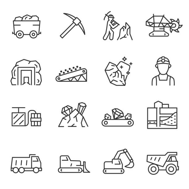 Mining, icon set. Extraction of minerals in the mine and surface, linear icons. Line with editable stroke Mining, icon set. Extraction of minerals in the mine and surface. editable stroke mining natural resources stock illustrations