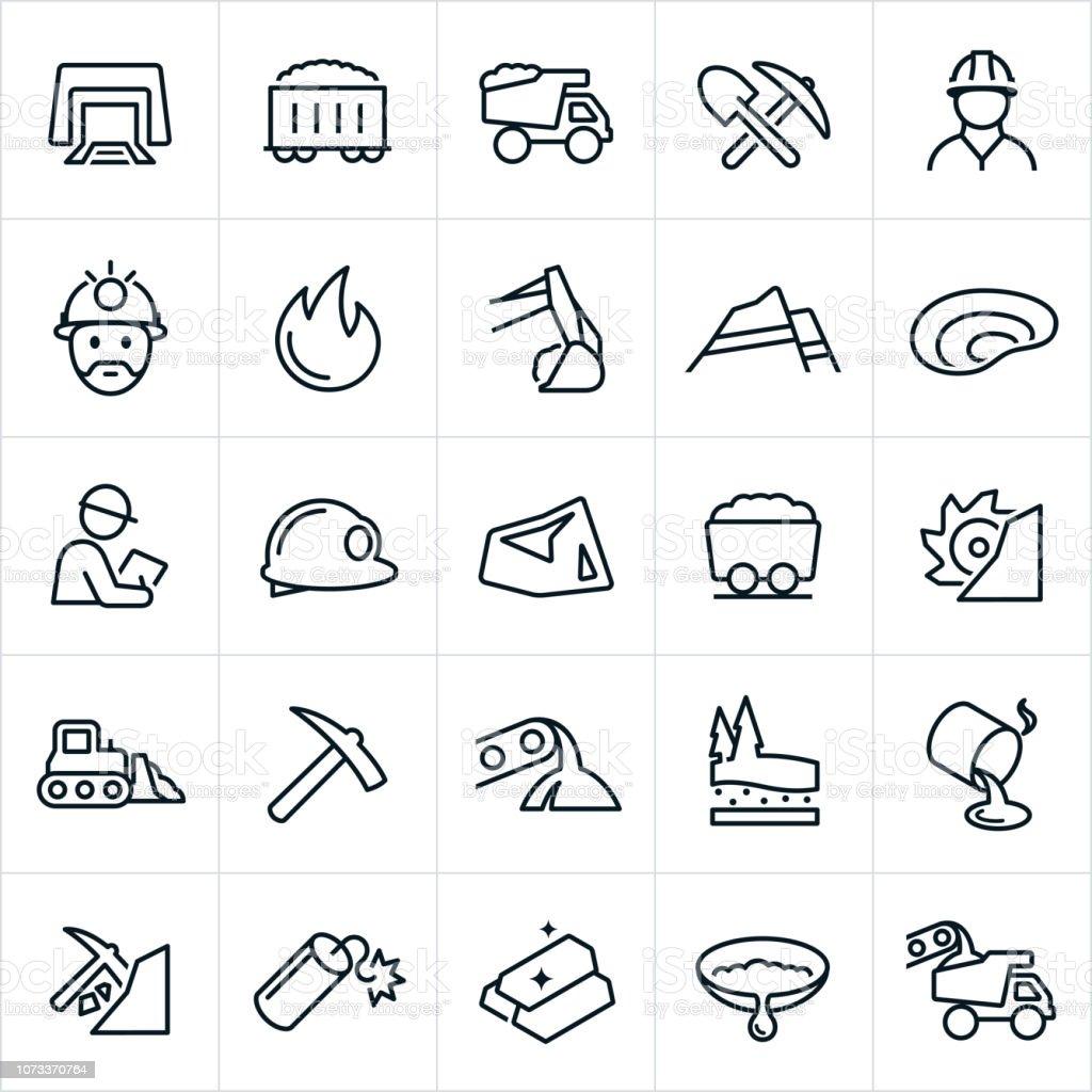 Mining Icons vector art illustration