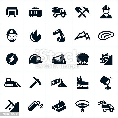 Icons related to the mining industry, specifically the coal and gold mining industries. The icons include a mine, coal, equipment, miner, heavy machinery, energy, hard hat and gold to name a few.
