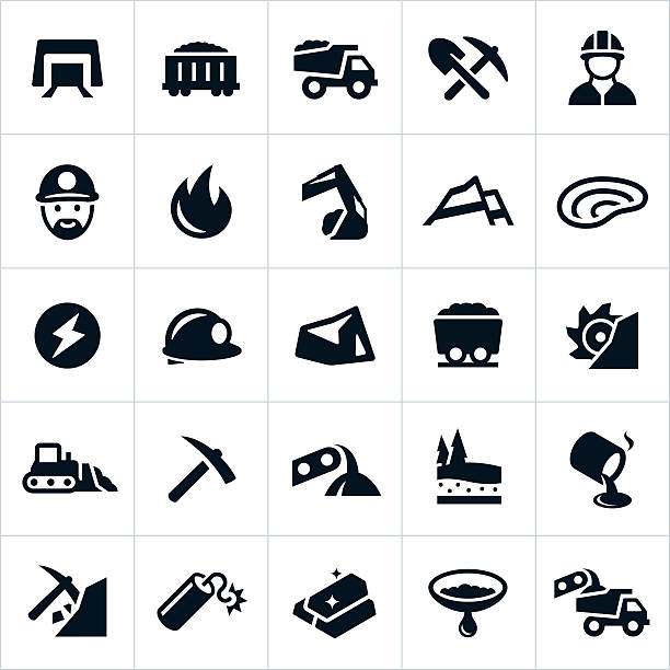 Mining Icons Icons related to the mining industry, specifically the coal and gold mining industries. The icons include a mine, coal, equipment, miner, heavy machinery, energy, hard hat and gold to name a few. mining natural resources stock illustrations
