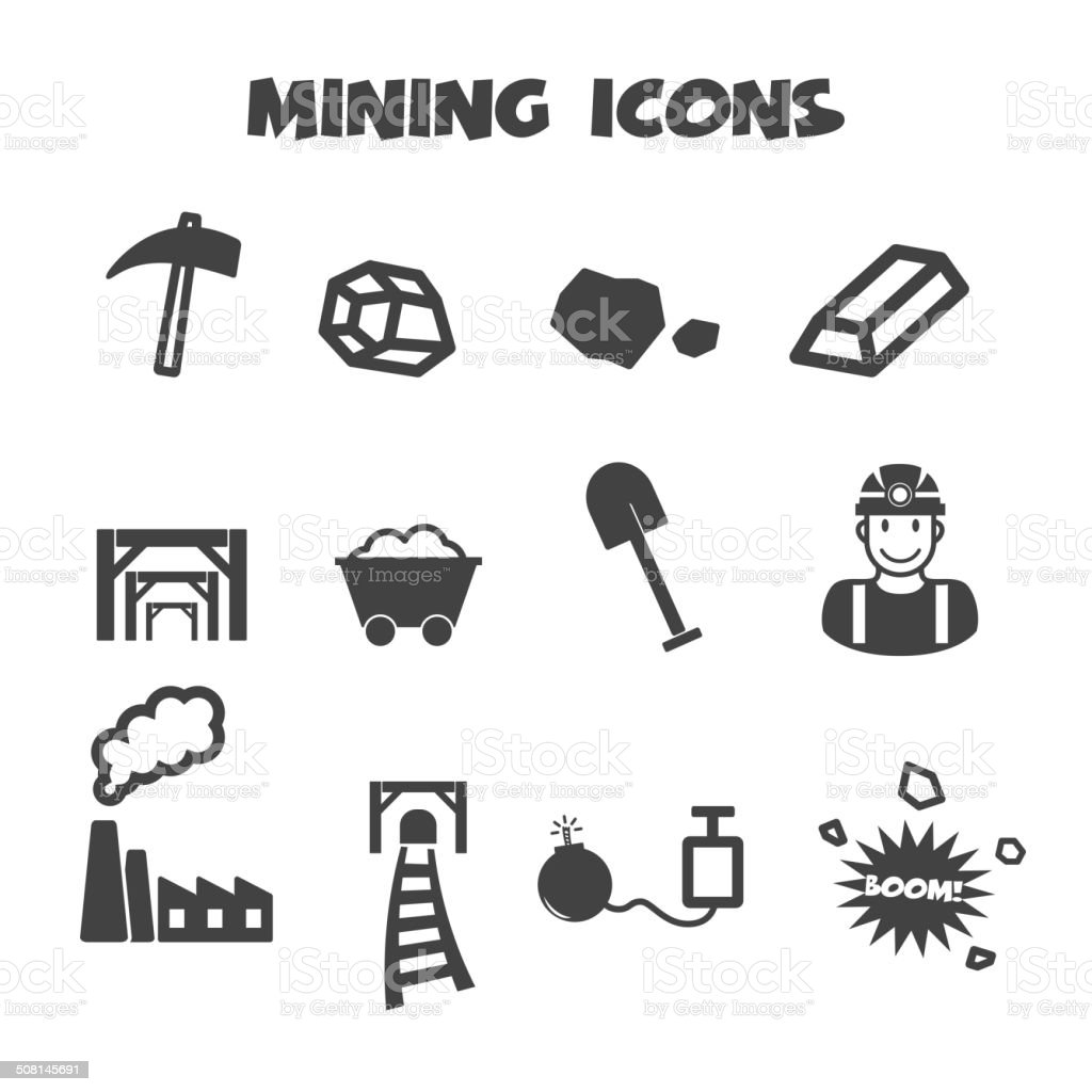 mining icons royalty-free stock vector art