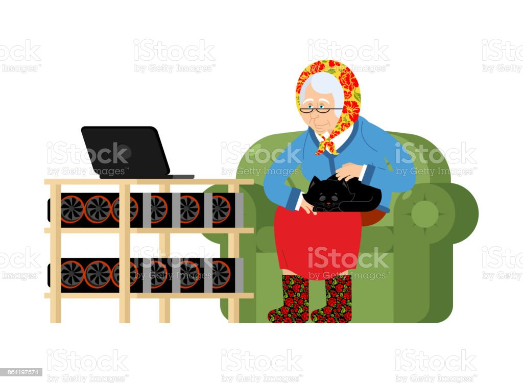 Mining in Russian. grandmother and mining farm. Cryptocurrency at home. Granny Extraction of virtual money. Vector illustration royalty-free mining in russian grandmother and mining farm cryptocurrency at home granny extraction of virtual money vector illustration stock vector art & more images of adult