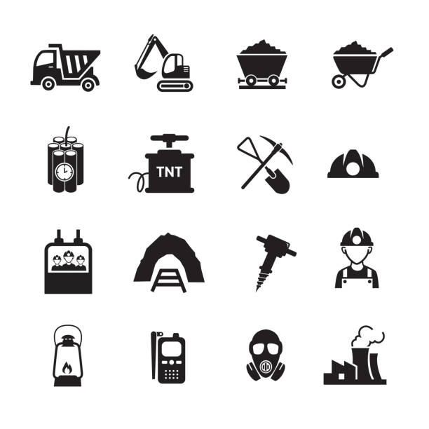 Mining industry icons set Mining industry icons set, Set of 16 editable filled, Simple clearly defined shapes in one color. mining natural resources stock illustrations