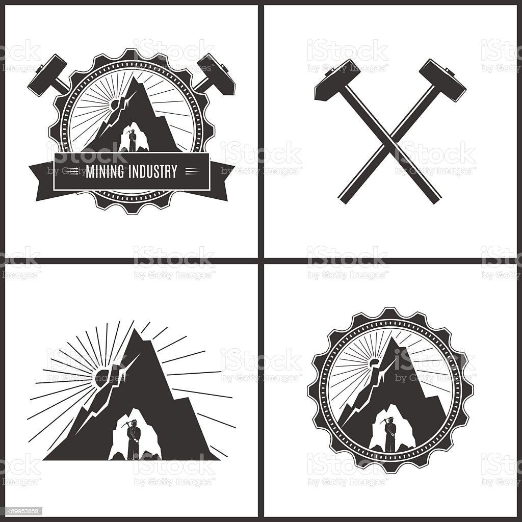 Mining Industry, Label or Badge vector art illustration
