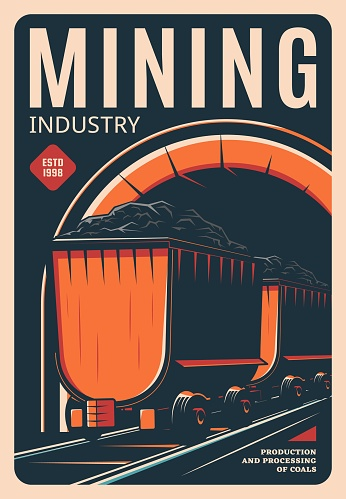 Mining industry retro poster, processing of coals