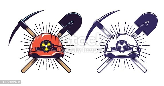 Mining logo with helmet pick and shovel in retro vintage style. Miner hardhat and tools.
