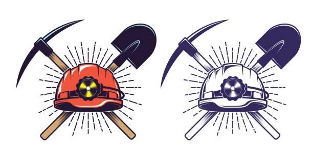 illustrazioni stock, clip art, cartoni animati e icone di tendenza di mining logo with helmet pick and shovel in retro vintage style - raccogliere frutta