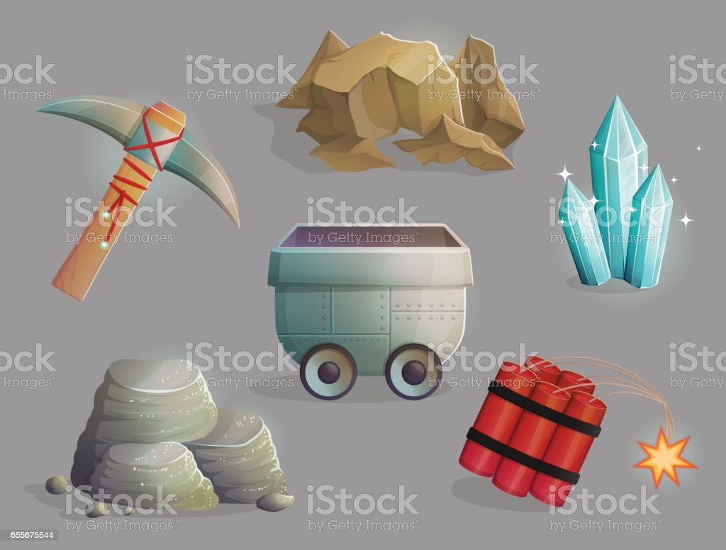 Mining natural resources tools and items vector art illustration