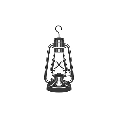 Antique glass kerosene lantern with metal handle isolated monochrome icon. Vector old miners lantern, retro oil lamp. Retro paraffin lamp. Miners object with burning flame in black and white