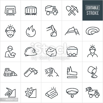 A set of mining icons that include editable strokes or outlines using the EPS vector file. The icons include a mine, mine shaft, coal train, coal, dump truck, heavy equipment, pick, shovel, miner, strip mine, pit mine, inspector, hard hat, miners hat, bulldozer, dynamite, coal extraction, gold, gold extraction, gold mine, coal mine, panning for gold and other related icons.