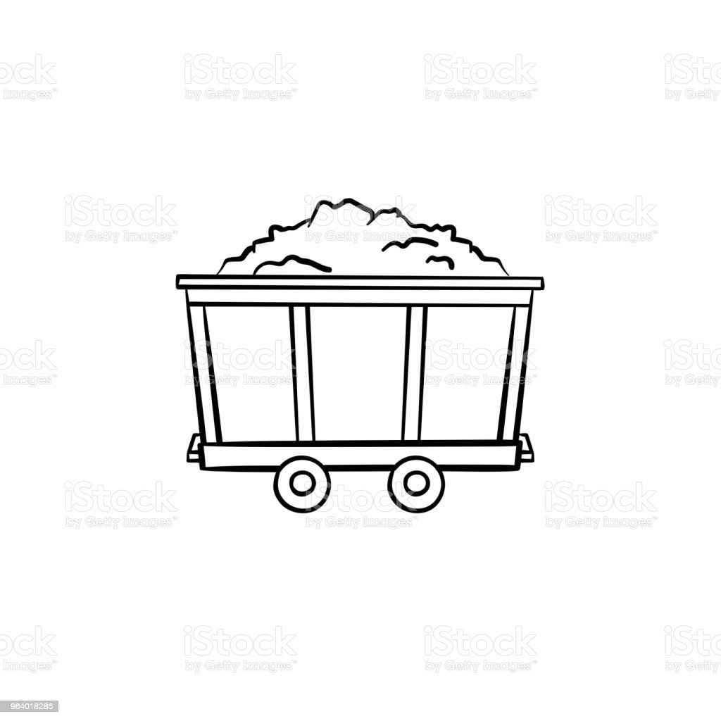 Mining trolley with coal hand drawn outline doodle icon - Royalty-free Antiquities stock vector