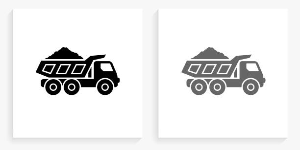 Mining Truck Black and White Square Icon vector art illustration