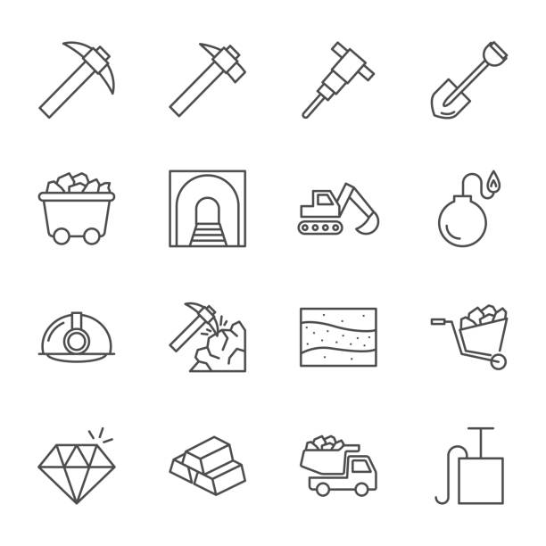 Mining vector icons set, outline style Mining vector icons set, outline style mining natural resources stock illustrations