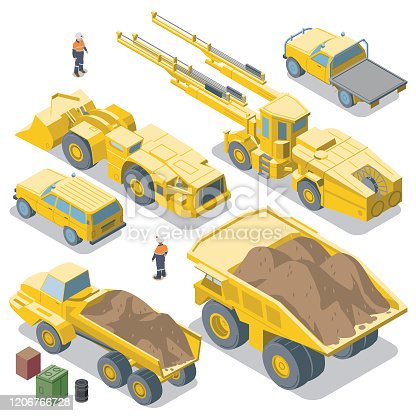 istock Mining Vehicles reverse view (isometric) 1206766728