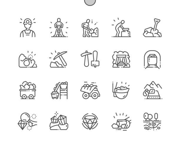 bildbanksillustrationer, clip art samt tecknat material och ikoner med gruvdrift välgjord pixel perfekt vektor tunna linje ikoner 30 2x rutnät för webbgrafik och appar. enkelt minimalt piktogram - mining