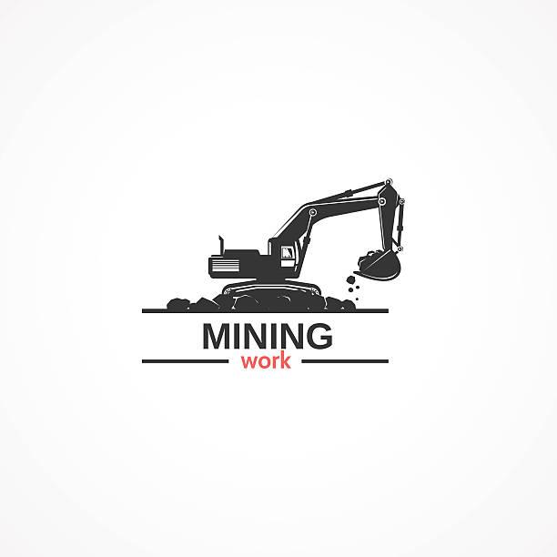 mining work. - bagger stock-grafiken, -clipart, -cartoons und -symbole