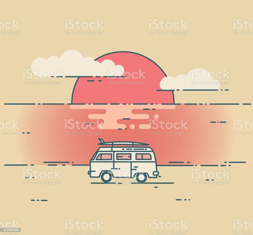 Minivan and sea sunset landscape. vector art illustration