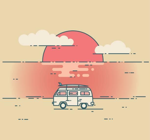 Minivan and sea sunset landscape. Minivan and sea sunset landscape. Adventure and Travel concept. Vintage flat line vector illustration mini van stock illustrations