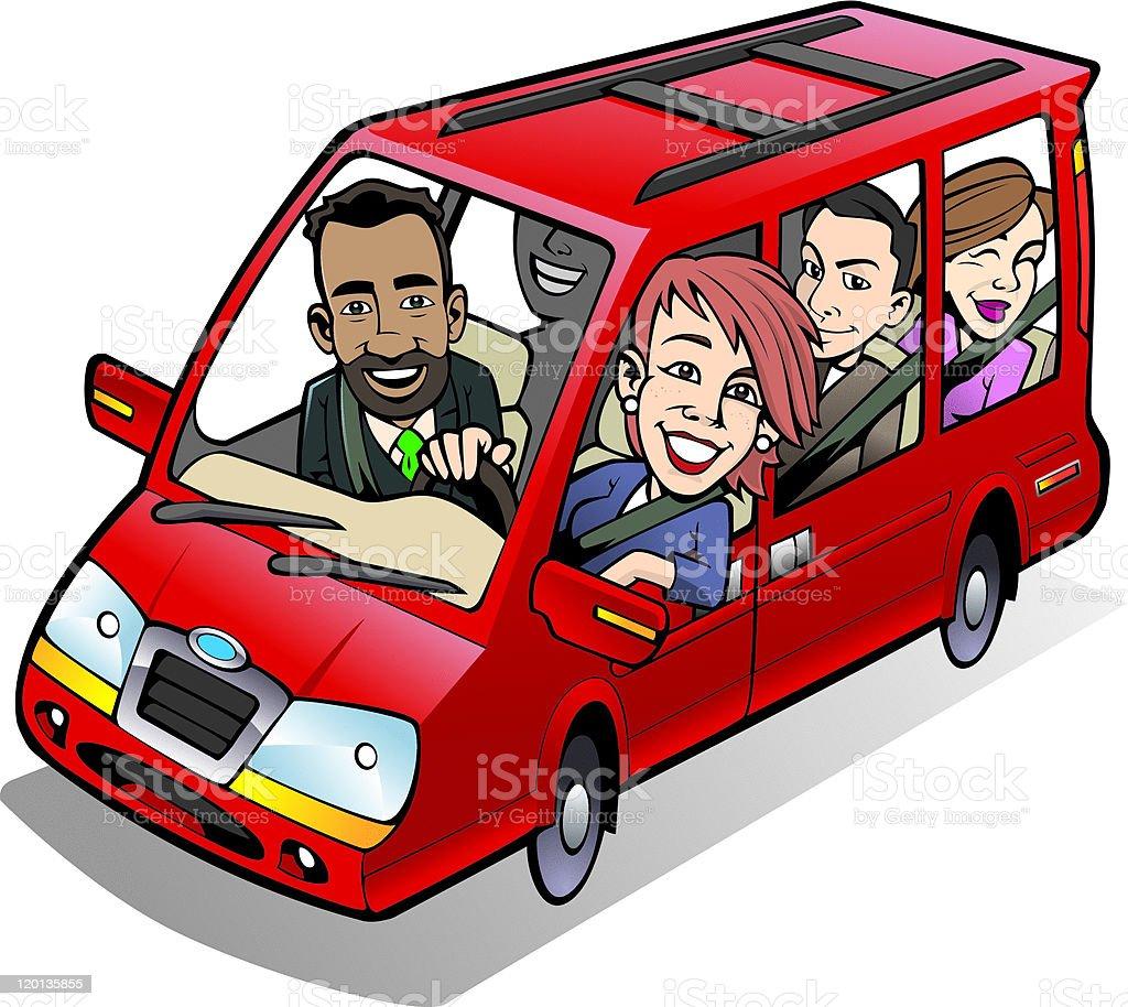 Minivan Carpool. - ilustración de arte vectorial
