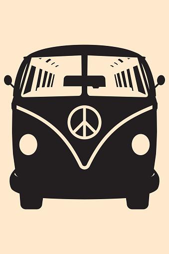 Vector pop art illustration. Minivan Hippie Silhouette