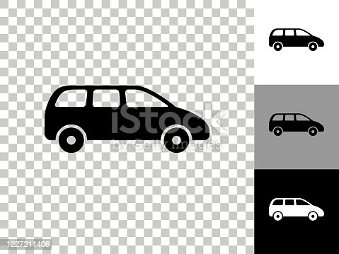 istock Minivan Icon on Checkerboard Transparent Background 1227211406