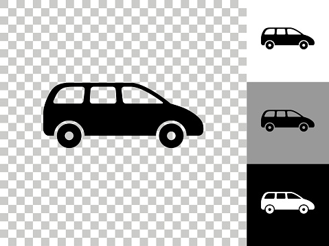 Minivan Icon on Checkerboard Transparent Background