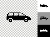 istock Minivan Icon on Checkerboard Transparent Background 1227211406