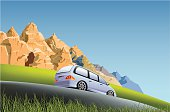 Vector illustration of minivan traveling along the country side