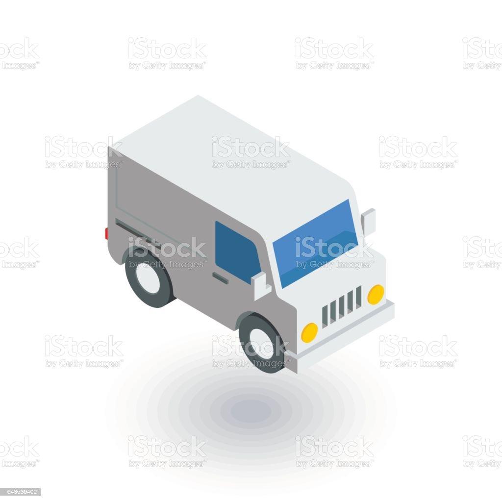 minivan, transportation, car isometric flat icon. 3d vector vector art illustration