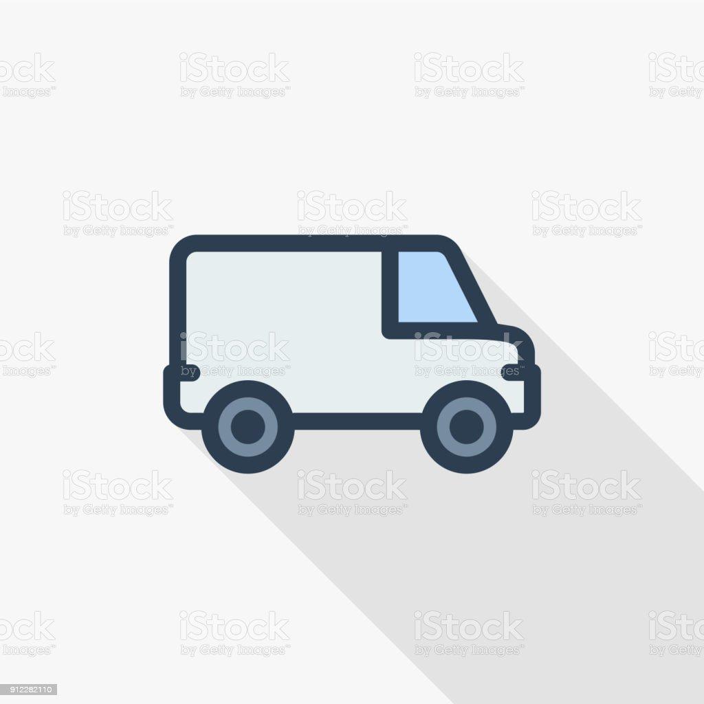 minivan, transportation, car thin line flat color icon. Linear vector symbol. Colorful long shadow design. vector art illustration