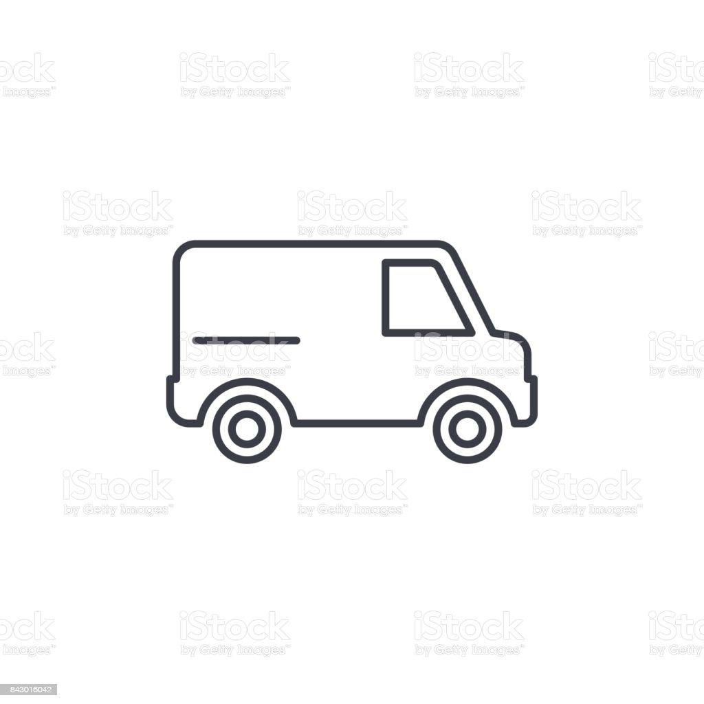 minivan, transportation, car thin line icon. Linear vector symbol vector art illustration