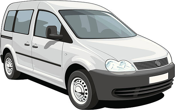 Minivan Vector isolated minivan cargo and passenger on white background, without gradients and transparency EPS8 + CDR10 format. mini van stock illustrations