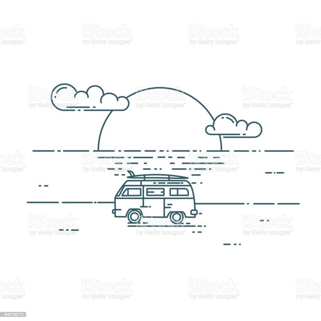 Minivan with sunset landscape. vector art illustration