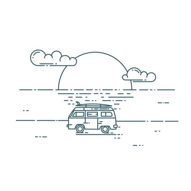Minivan with sunset landscape. Surf van on the beach. Vector flat line illustration. Minivan with sunset landscape. Adventure and Travel concept mini van stock illustrations
