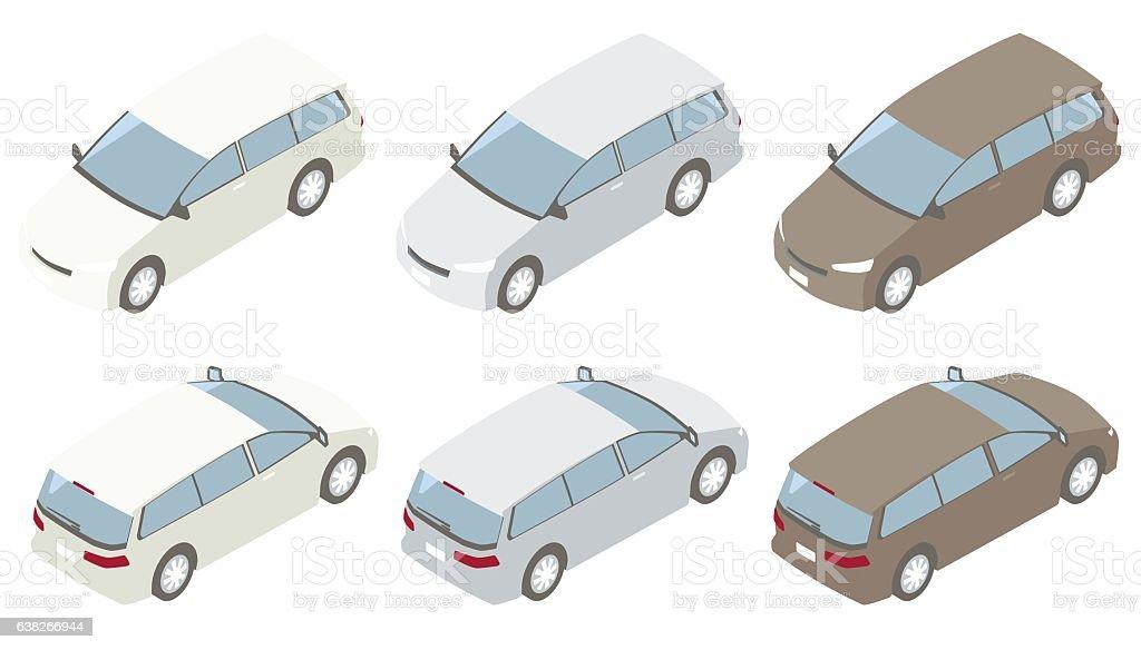 Minivans Isometric Illustration vector art illustration