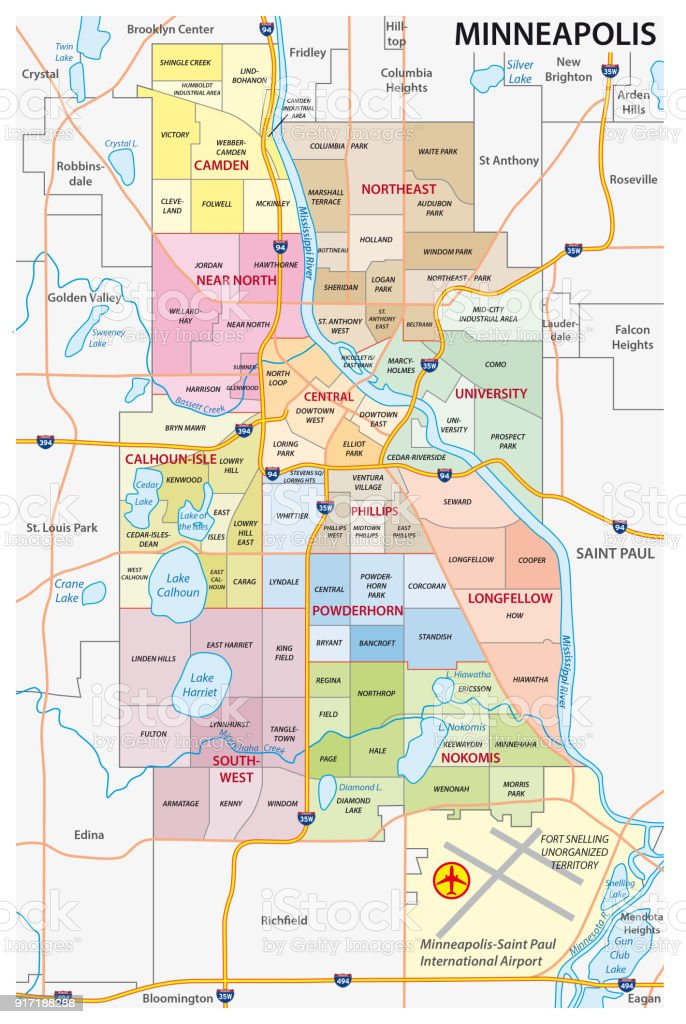Image of: Minneapolis Administrative Political And Road Map Stock Illustration Download Image Now Istock
