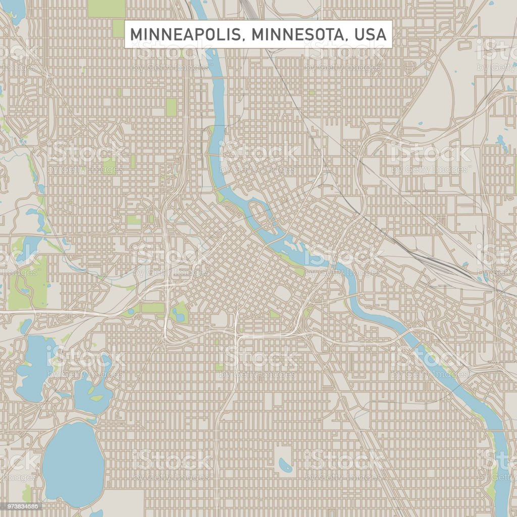 Minneapolis Minnesota Us City Street Map Stock Illustration ...