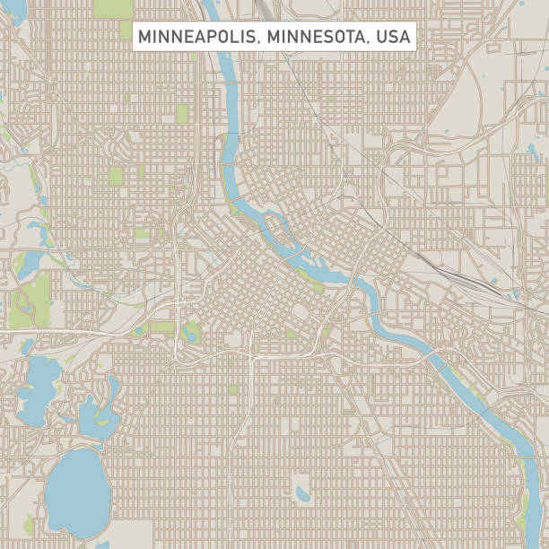 Minneapolis Minnesota US City Street Map Vector Illustration of a City Street Map of Minneapolis, Minnesota, USA. Scale 1:60,000. All source data is in the public domain. U.S. Geological Survey, US Topo Used Layers: USGS The National Map: National Hydrography Dataset (NHD) USGS The National Map: National Transportation Dataset (NTD) vector map green stock illustrations