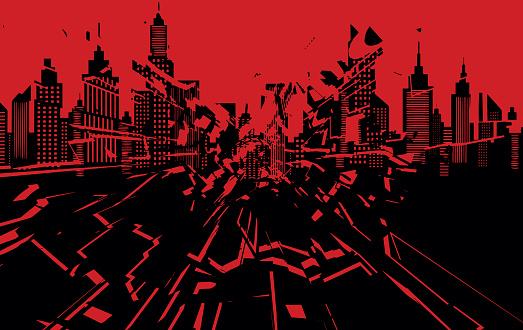 Minneapolis silhouette skyline. Shattered American city. protest. Vector stock illustration