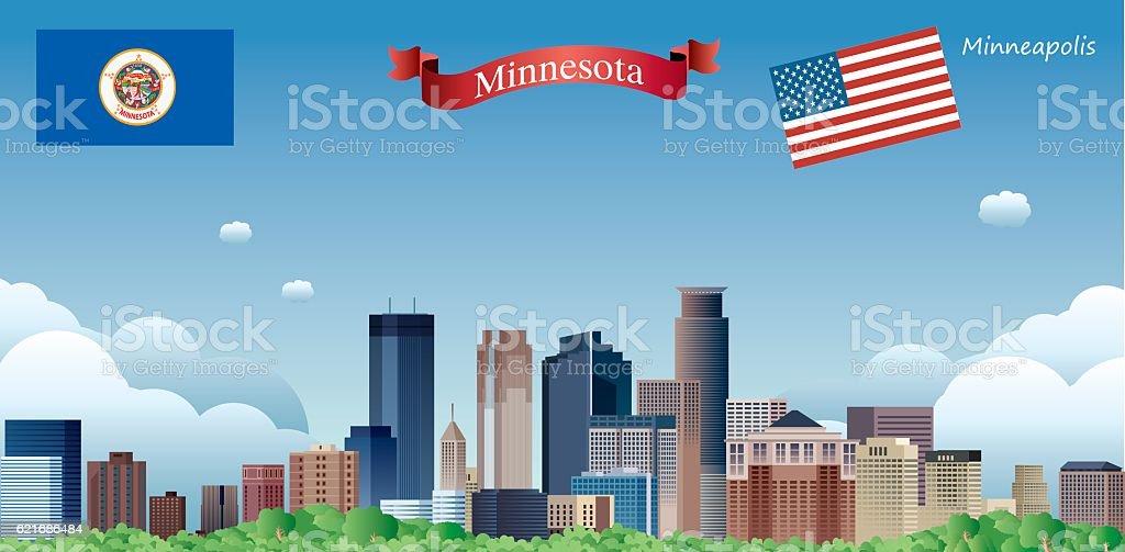 Minneapolis Skyline vector art illustration