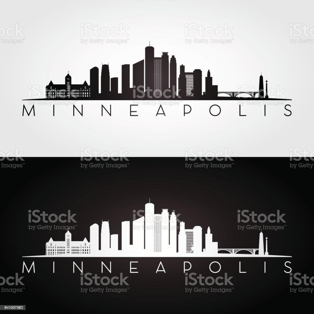 Minneapolis USA skyline and landmarks silhouette, black and white design, vector illustration. vector art illustration