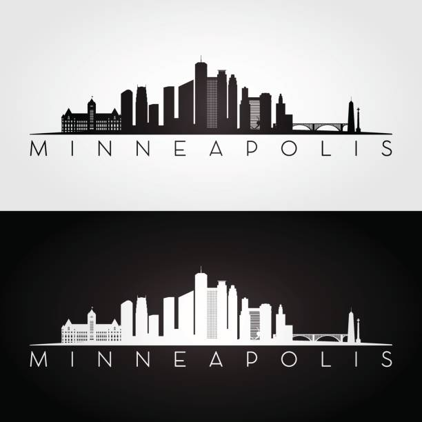 minneapolis usa skyline and landmarks silhouette, black and white design, vector illustration. - деловой центр города stock illustrations