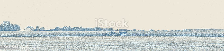 Stipple illustration of Minnesota Autumn Landscape with Tractor harvesting crops