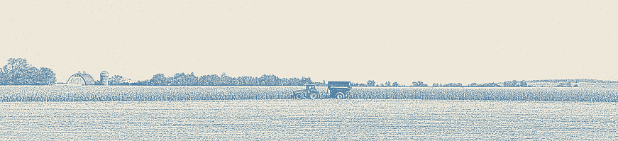 Stipple illustration of Minnesota Autumn Landscape with Tractor harvesting crops