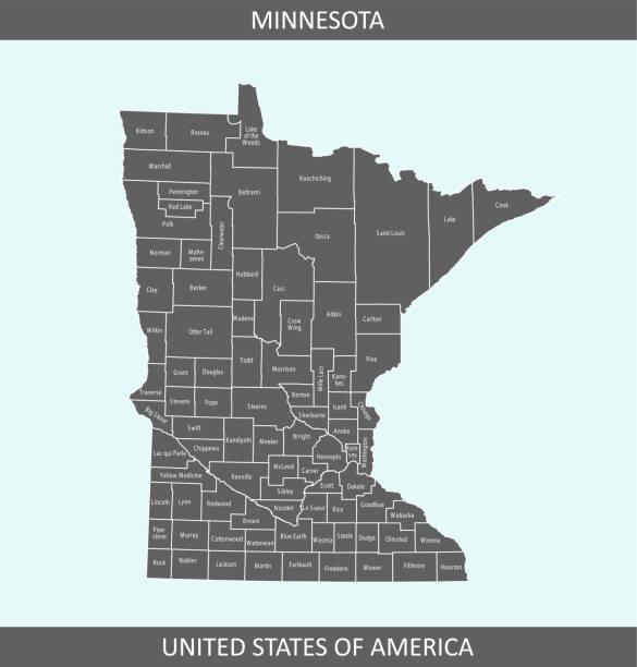 карта округов миннесота - st louis stock illustrations