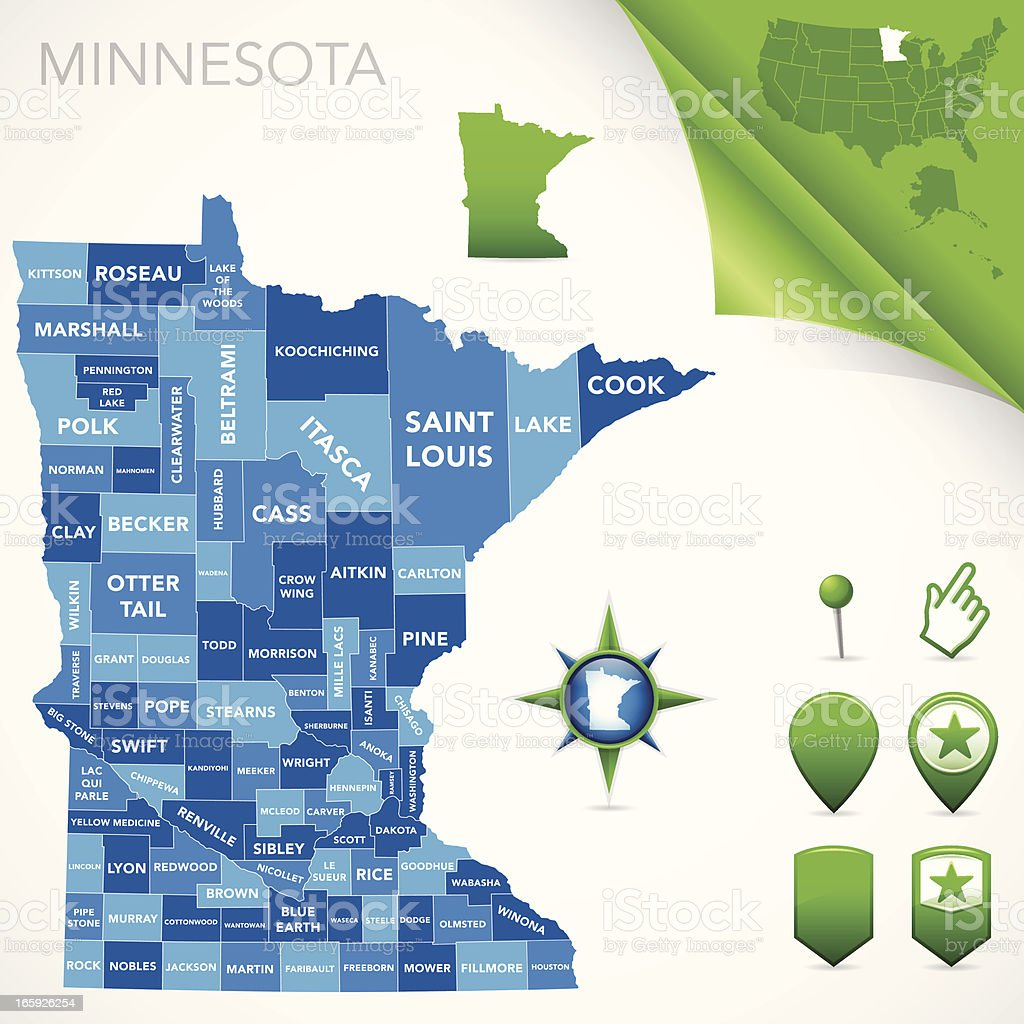 Minnesota County Map vector art illustration