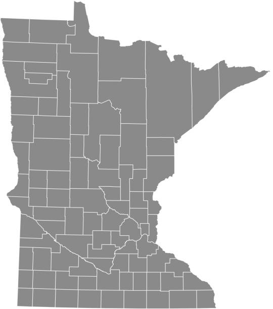 minnesota county map vector outline gray background. map of minnesota state of united states of america with highly detailed borders - st louis stock illustrations