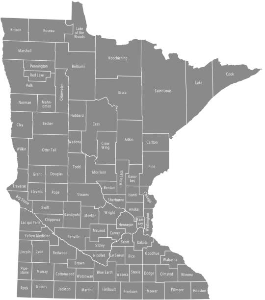 minnesota county map vector outline gray background. map of minnesota state of usa with borders and counties names labeled - st louis stock illustrations